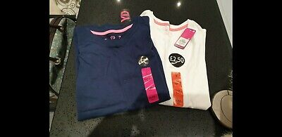 Primark Navy And White Long Sleeve Tops X2 Age 11-12yrs Brand New