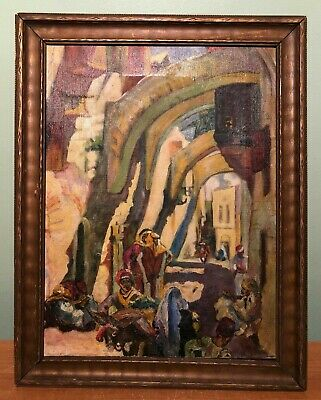 ANTIQUE SIGNED ORIENTALIST OIL ON CANVAS PAINTING OF MARKET PLACE w PEOPLE