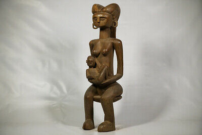 """Kwere Mother and Child Statue 30.5"""" - Tanzania - African Art"""