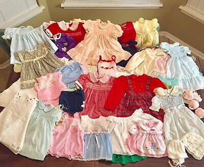 BIG 82 Piece Lot Sale Baby Or Dolls Clothes , 30 Diapers,Sizes Newborn-4T