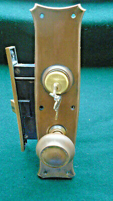 "RUSSWIN P1248 ENTRY LOCK SET w/CYLINDER & KEYS 7 3/4"" FACE NICE  (13795)"