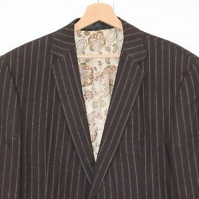 "M&S Marks Spencer Autograph 42"" R Brown Striped Linen Blazer Jacket"