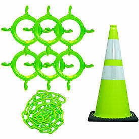 Mr. Chain 93277-6  Traffic Cone & Chain Kit with Reflective Collars, Safety