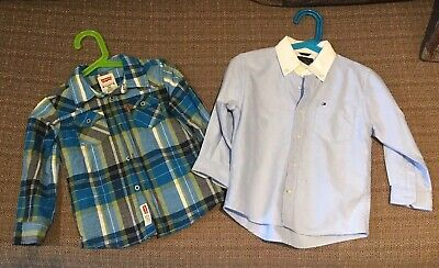 2x Baby/Toddler Boys Size 2 Long Sleeve Shirts Levis Tommy Hilfiger