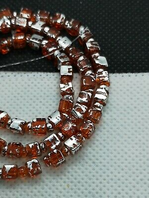 String Of Orange Glass Drawbench 4mm Cube Beads With Silver Drizzle (MYDB 22)