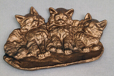 Antique Bradley And Hubbard Cast Iron Three Kittens Tray For Keys, Coiins, Pins,