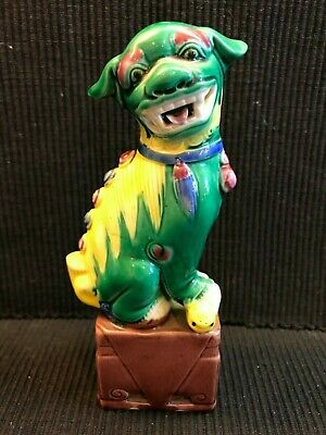 "6.25"" Vintage Chinese Asian Porcelain Green And Yellow  Foo Dog Guardian Lion"