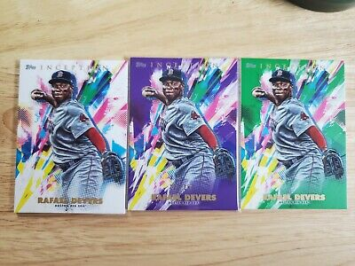 2020 Topps Inception Rafael Devers Purple Green Parallel /150 Red Sox 3 Card Lot