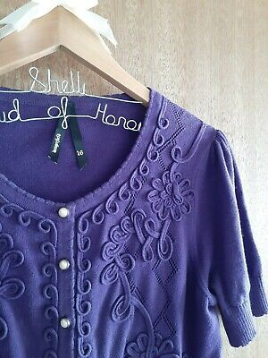 DANGERFIELD Cardigan- Size 16- Purple with pearl style buttons