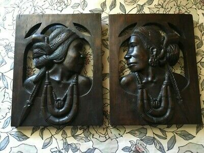 Wooden Hand Carved Tribal Plaques (2) from SE Asia
