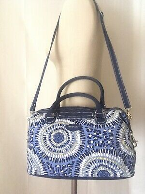 VERA BRADLEY Quilted SATCHEL STARRY NIGHT Navy Blue White Yellow Crossbody BAG