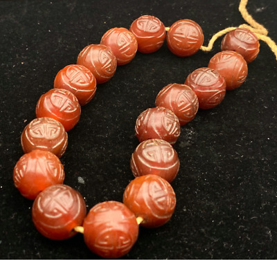 Ancient China Natural weathering Hand-carved 寿 Red old agate good luck Bracelets