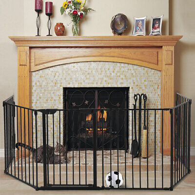 Fireplace Fence Baby Child Safety Fence Pet Dog BBQ Hearth Gate Metal Fire Gate