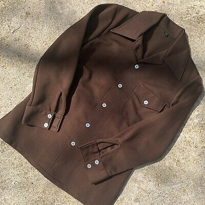 Vintage 1970s Brown Silver / Gulfstream Leisure Suit Shirt / Jacket Top Only