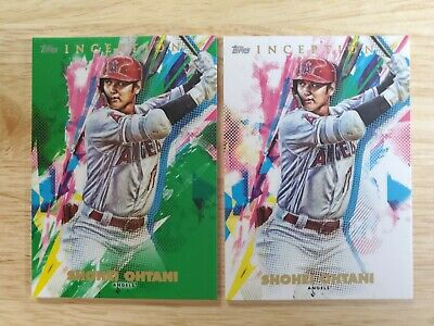 2020 Topps Inception Shoei Ohtani Green Parallel Base 2 Card Lot Angels