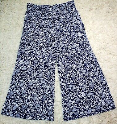 Lane Bryant NAVY FLORAL Wide Leg Palazzo PANTS Pull On STRETCH Knit PLUS 18/20