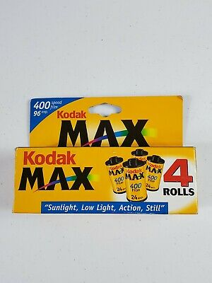 Kodak Max 400 Color Film 35mm 4 Roll Pack 24 Exposure Sealed Expired E51
