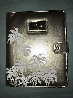 Lilly Pulitzer Gold Cover Agenda Folio Leatherette Palm Trees Pen Loop New NWT