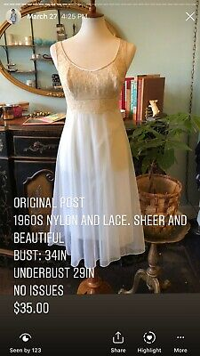 VINTAGE Sheer Nylon Nightgown With Lace Top