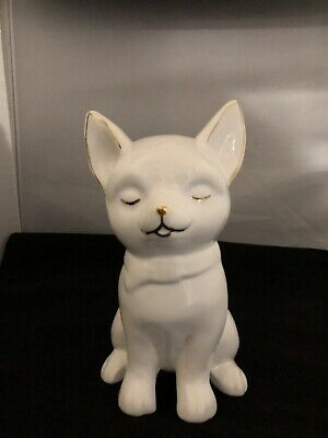 White Chihuahua Puppy Dog Figurine Sitting 6 1/2""