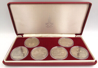 RUSSIA USSR / 1977-80 Olympic  Games in Moscow 1980 1 Rouble Full Set of 6 Coins