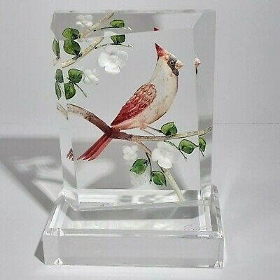 Cardinal Bird Branch Reverse Etched Hand Painted Lucite Sculpture Signed Wald