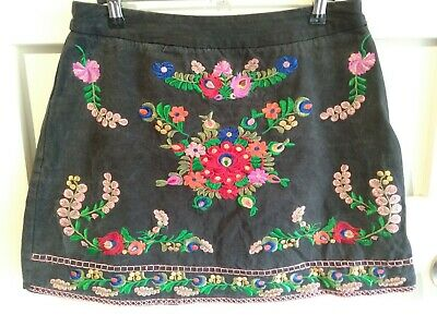 Stellino Cotton Grey Mini Skirt Floral Embroidered Size 12