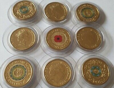 2018 UNC $2 Red Poppy Coin from 30th also 8 other rare 2 dollar coins ultra rare