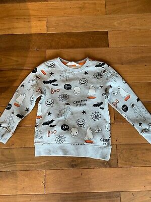 H&M jumper grey with halloween images approx age 5-6 years