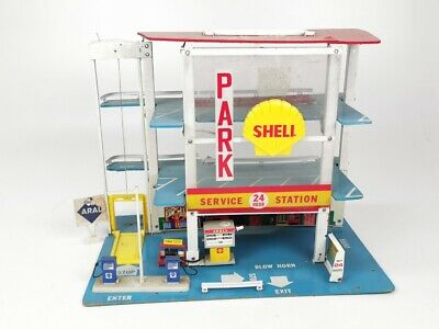 Vintage FOLD-A-WAY SHELL GAS STATION GARAGE MIDTOWN SERVICE TOY PLAY INTOPORT