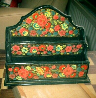 Vintage Chinese Lacquered & Gilded Papier Mache Letter Rack