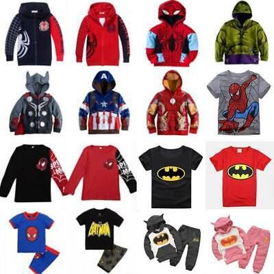 Kids Marvel Superhero Hoodies Sweatshirt Jumper Boys Coats Set Jacket Outfits
