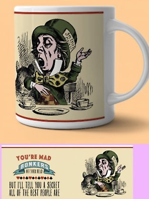 Mad hatter Alice in wonderland novelty mug funny coffee tea cup present gift