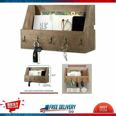 Key Mail Holder for Wall Wooden Mount Organizer Rack Rustic Antique Brass Hooks