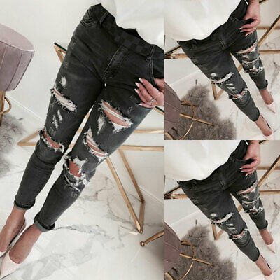 Women's High Waist Skinny Denim Jeans Pants Ripped Stretchy Jeggings Trousers