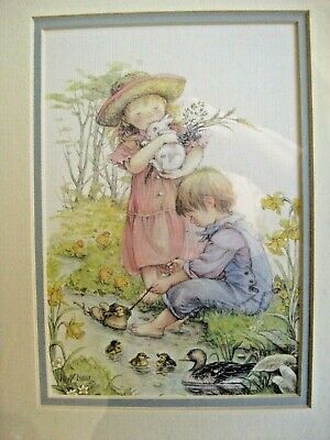 LISI MARTIN glass, matted, framed, adorable children & nature print.  Perfect!