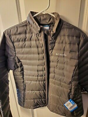 Womens gray Columbia down jacket,  Size Large