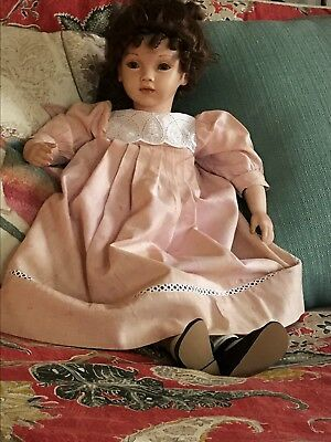 Beautiful Pauline Doll Charmaine  In Rocking Chair Holding Teddy