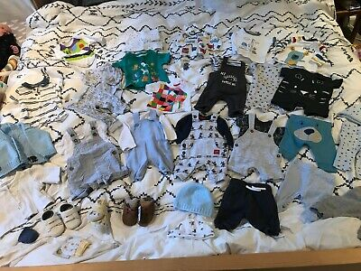 HUGE Baby Boys Newborn to 1 Month Outfit Clothes Bundle - M&S, F&F, Tu