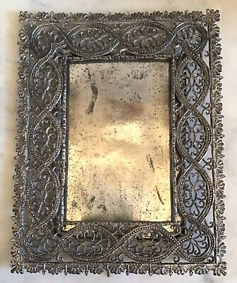 Antique Victorian Cabinet Card Filigree Soft Metal Photo Picture Frame