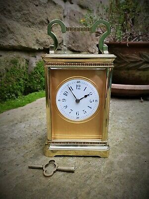 Superb Quality French Gilt Brass Masked Striking Carriage Clock C1870 - Vg Cond