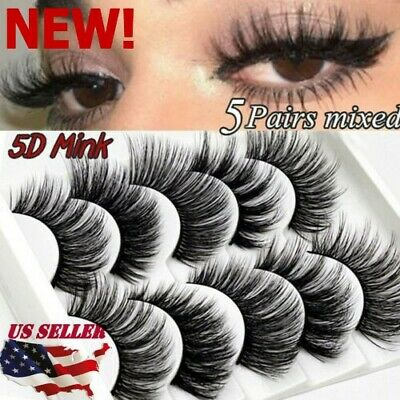 5Pairs 100% Real Mink 3D Volume Thick Daily False Eyelashes Strip Lashes Fast