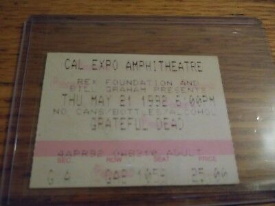 Grateful Dead Ticket Stub, Cal Expo, 05/21/1992, Sacramento, California