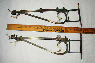 2 Antique Vtg Cast Iron Swing Arm Curtain Rods Adjustable,w Swing Brackets & Han