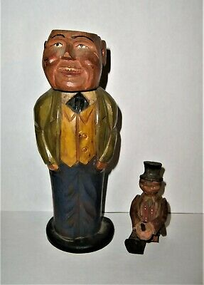 Antique Brush Man Small Figure Folk Art Carved Wood Wooden Lot German Primitives