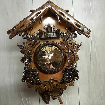 Wooden cuckoo clock handmade wood carving exclusive gift