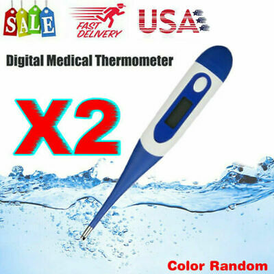 2x Digital LCD Thermometer Medical Baby Adult Body Kid Safe Ear Oral Temperature