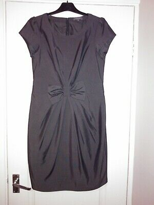 ** New ** Dark Grey Knee Length Lined Dress, Bow Detail On Front Size 12