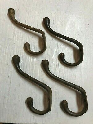 Vintage Lot of 4 Large Cast Iron Coat Hooks Hangers Hall Tree Real Deal