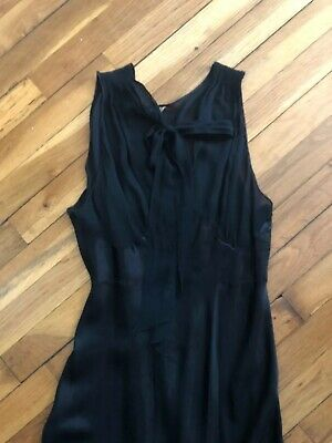 Vintage 1930s Yolande Black Sheer Rayon Bias Cut Nightgown
